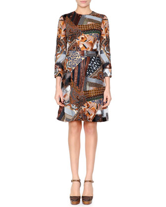 Mosaic Beaded A-Line Dress