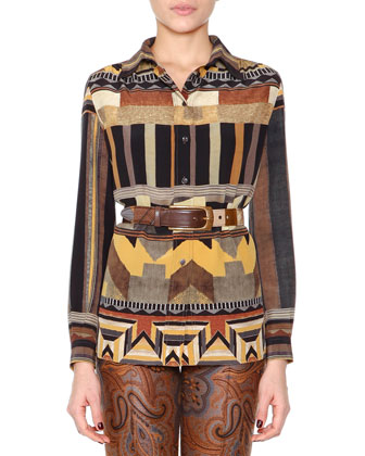 Patchwork Jacquard Fitted Coat, Geometric-Print Button Blouse & Flared ...