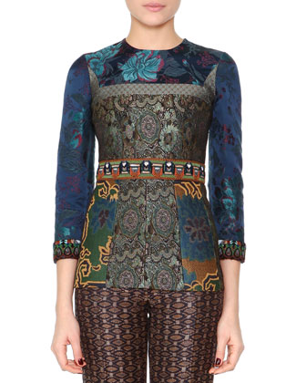 Bead-Trimmed Floral Tunic Top