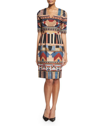 Embroidered Landscape Double-Breasted Coat & Half-Sleeve Geometric-Print Dress