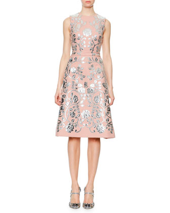 Metallic Floral Leather Appliqu� Dress