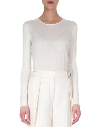 Sleeveless Neoprene Apron Dress & Cashmere-Blend Long-Sleeve Top