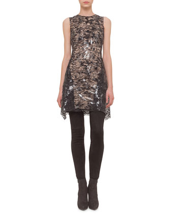 Sheer-Lace Handkerchief-Hem Dress
