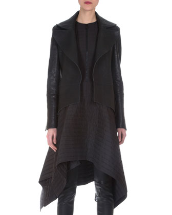 Stamped Napa Leather Tailcoat & Matelasse Half-Zip Asymmetric Dress
