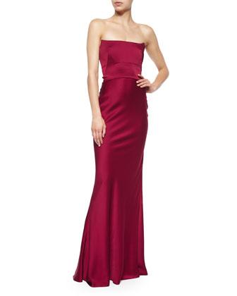 Strapless Bustier Satin Gown