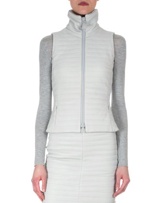 Quilted Napa Zip Gilet, Cashmere-Silk Knit Pullover Top & Quilted Leather ...