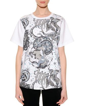 12 Zodiac Sign Graphic-Print Sheer-Back T-Shirt