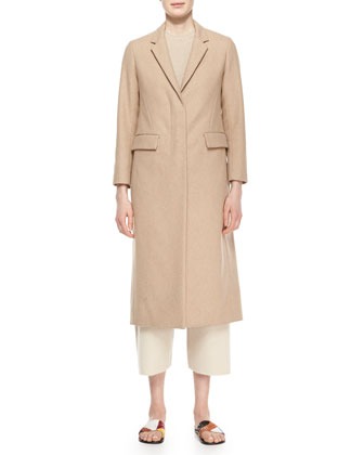 Classic Fitted Zip Long Coat, Camel Melange
