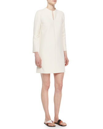 Zip-Front Long-Sleeve Mini Dress, Natural