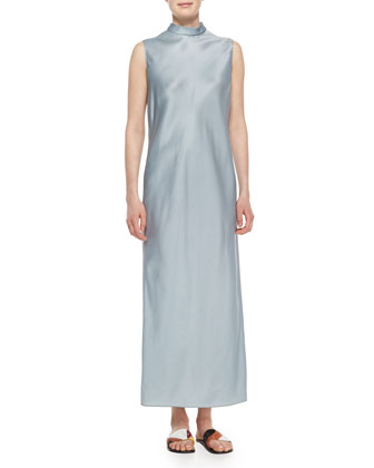 Mock-Neck Sleeveless Organza Dress