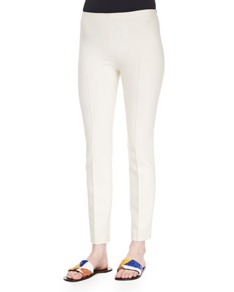 Skinny Side-Zip Pants, Natural