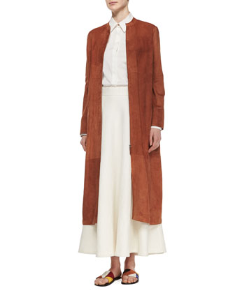 Collarless Suede Long Coat, Long-Sleeve Oversized Button Blouse & Linen ...