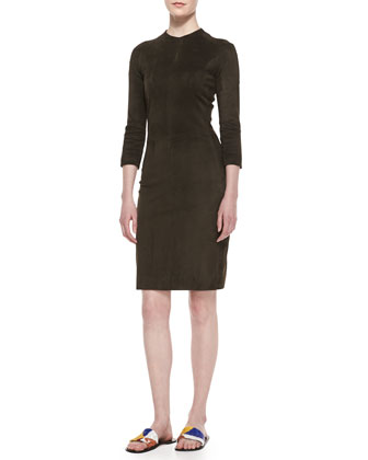 3/4-Sleeve Stretch Suede Sheath Dress