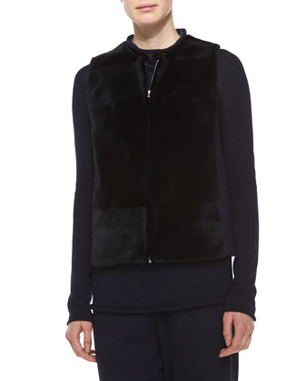 Sheared Mink Fur Patchwork Vest, Navy