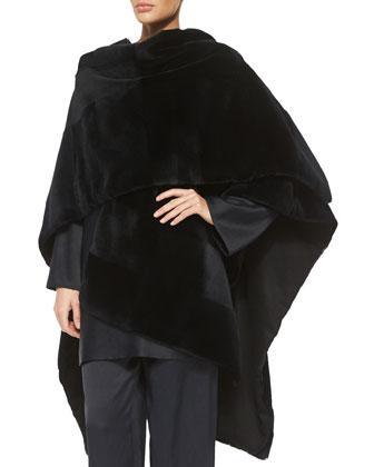 Sheared Patchwork Mink Fur Shawl, Long-Sleeve Short Dress & Straight-Leg ...