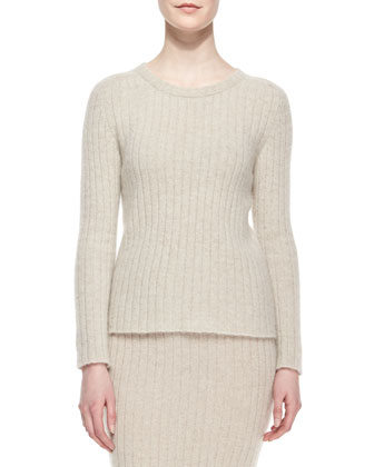 Ribbed Cashmere Sweater, Stone Melange
