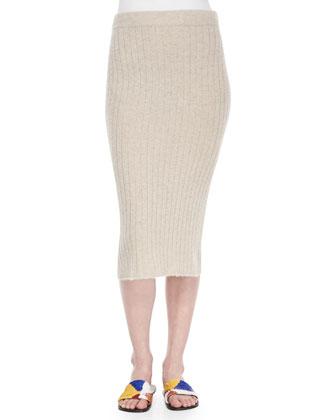 Ribbed Cashmere Skirt, Stone Melange