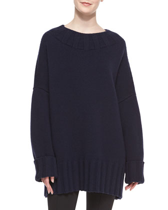 Ribbed-Detail Oversized Merino/Cashmere Sweater, Blue