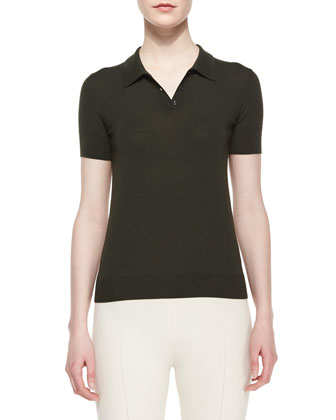 Short-Sleeve Button-Front Merino Polo, Dark Olive