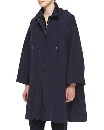 Water-Repellant Hooded Raincoat, Sheared Mink Fur Patchwork Vest & ...