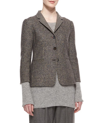 Double-Faced Tweed Jacket, Long-Sleeve Ribbed Cashmere/Silk Sweater & ...