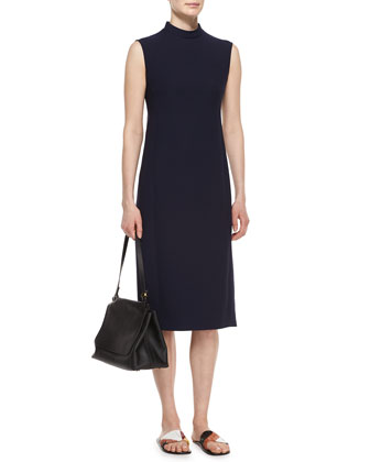 Mock-Neck Sleeveless Scuba Dress