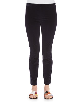 Long-Sleeve Fitted Cashmere/Silk Sweater & Stretch-Corduroy Cropped Leggings