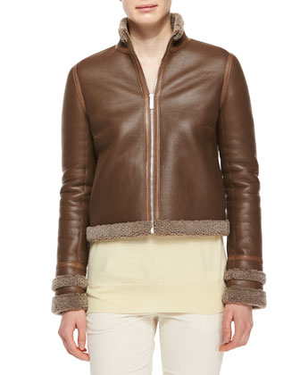 Shearling Fur-Lined Leather Jacket, Mushroom