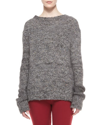 Long-Sleeve Alpaca Tweed Sweater, Gray
