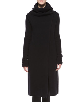 Turtleneck Slit-Front Long Cashmere Sweater