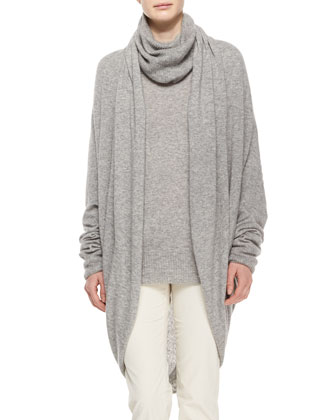 Draped-Front Cozy Cashmere-Silk Cardigan, Slouchy Turtleneck & Norland ...