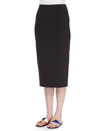 Cropped-Sleeve Fluid Top & Scuba Jersey Pencil Skirt