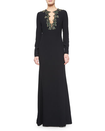 Beaded Clover Trimmed Crepe Gown
