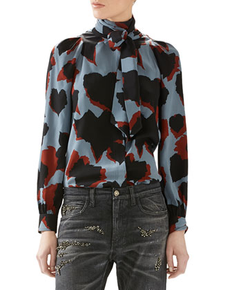 Patchwork Fox Fur Jacket, Leaves Print Silk Shirt & Stone Washed Stretch ...