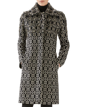 Octagonal Jacquard Wool Embroidered Coat