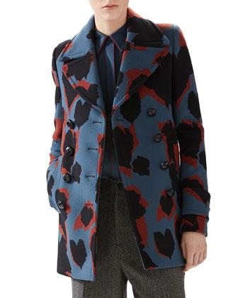 Leaves Jacquard Wool Coat