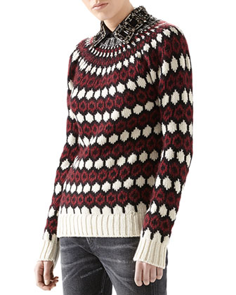 Wool-Mohair Embroidered Jacquard Sweater