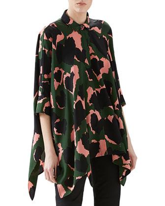 Leaves Print Silk Cape Shirt