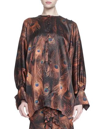 Vintage Peacock-Print Poet-Sleeve Blouse, Velvet-Trimmed Woven Bustier & ...