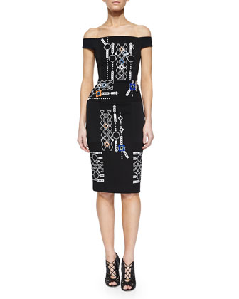 Off-The-Shoulder Arcade-Print Sheath Dress
