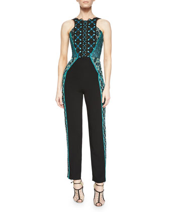Embroidered Lace Sleeveless Jumpsuit