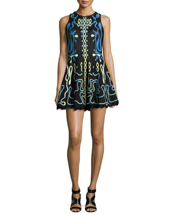 Contrast-Embroidered Fit-And-Flare Dress