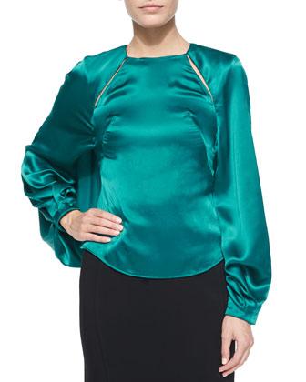 Long-Sleeve Keyhole Top & High-Waist Pencil Skirt