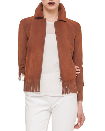 Suede Fringe-Trimmed Jacket, Sheer Blouse w/Layered Tank & Franca Cropped ...