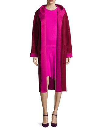 Long-Sleeve Two-Tone Coat & Long-Sleeve Knit Petal-Hem Dress