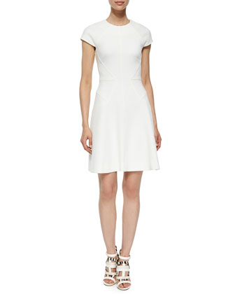 Cap-Sleeve Fit-&-Flare Dress, Ivory