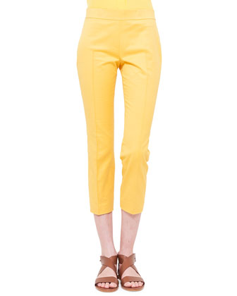 Slim-Fit Twill Cropped Pants
