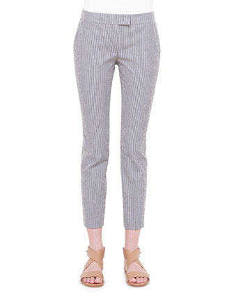 Pencil Striped Cropped Pants