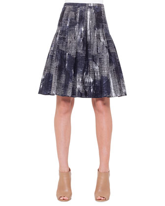 Abstract-Print Stitched Pleated Skirt