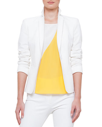 Raw-Edge Jersey One-Button Blazer